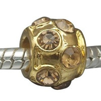 European charm metal bead gold plated with stones