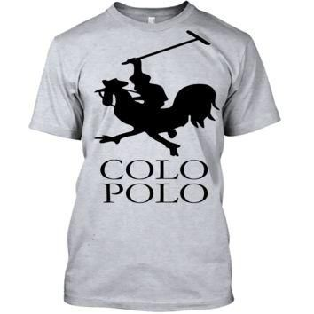 'Colo Polo Game Chicken Running' Funny Slogan Men Women Unisex T Shirt Top Tee (105) G