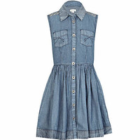 Girls blue ticking stripe denim shirt dress