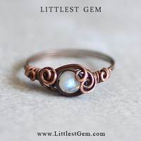 size US 7 Moonstone Ring, wire wrapped ring, wire wrapped jewelry handmade, victorian style, unique rings