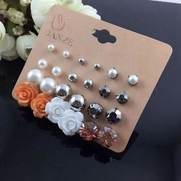 Stylish Accessory Simple Design Pearls Resin Floral Set [197065211930]
