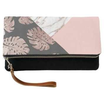 Blush Pink Rose Gold Marble Swiss Cheese Leaves Clutch