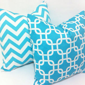 Light Aqua Blue Trellis Pillow Cover fits an 18 x 18 Inch insert Decorative Pillow Light blue Throw Pillow Cushion Cover
