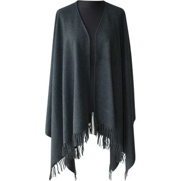 New 100% extra fine merino wool shawl MOSCHINO Black