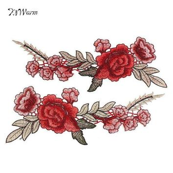 ac NOOW2 2pcs Red Rose Flower Floral Collar Sew Patch Applique Badge Embroidered Bust Dress Handmade DIY Craft Ornament Fabric Sticker