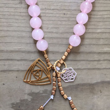 Rose Quartz Gemstone Gold, Canadian Made, Earth Jewelry, 108 Mala Beads, Yoga and Meditation Jewelry, Bohemian Necklace, Healing Crystals