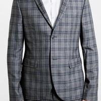 Men's Topman Skinny Fit Grey Plaid Suit Jacket