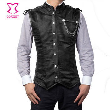 Black Striped Collar Long Sleeveless Vest Vintage Coats Corset Jacket Steampunk Waistcoat Mens Gothic Clothing Plus Size 6XL