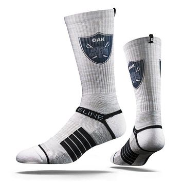Strideline Oakland The Town Iconic Oak Tree and Sabers Shield Crew Socks