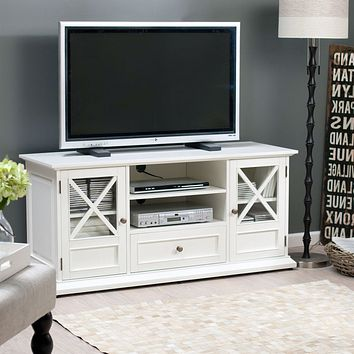 White Solid Wood 55-in. TV Stand Entertainment Center with Wooden Veneer Top