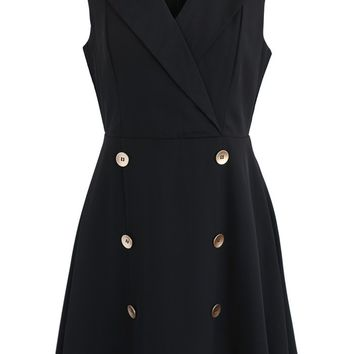 Charming Black V-Neck Sleeveless Dress