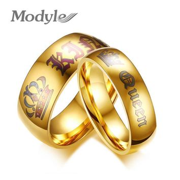 Cool Modyle New Wedding Rings for Women Men Her King and His Queen Stainless Steel Couple Ring Promise Engagement Wedding JewelryAT_93_12