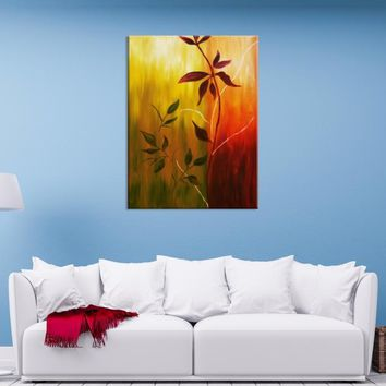 37254 - Large Wall Art Yellow, Green and Red Concepted Leaf Figures Canvas Print
