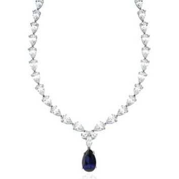 CRISLU Sterling Silver Cubic Zirconia and Faux Sapphire Drop Tennis Necklace