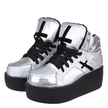 Womens ladies high platform wedge goth punk creepers ankle boots fashion autumn winter silver hologram Woman HARAJUKU shoe