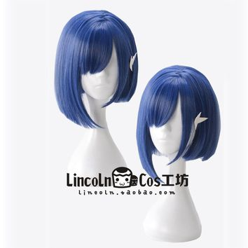 ICHIGO Blue Wig Cosplay Japanese Anime DARLING in the FRANXX Code 015 Cosplay Wig Short Blue Hair+ Accessory Role Play