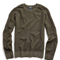 Italian Garment Dyed Merino Wool Ribbed Sweater in Olive