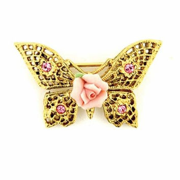 Gold-Tone Pink Porcelain Rose Butterfly Filigree Brooch
