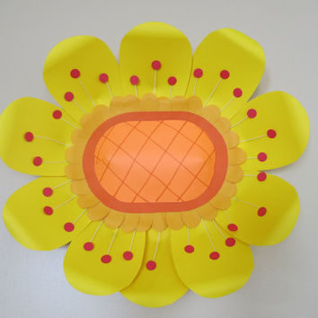 "Giant Paper Flower, Retro design, 18"" huge sunflower, Scandinavian Folk Art style, home decorating, wall hanging, 3D wedding art decoration"