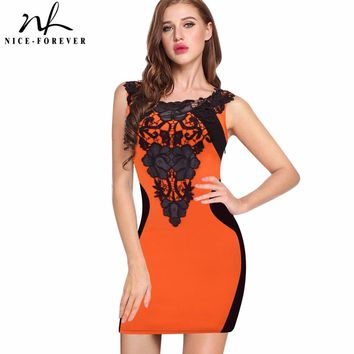 Nice-forever Sexy Color Block Embroidery Lace Illusion Sleeveless Above Knee Bodycon Club Wear Pencil Mini Women dress 786