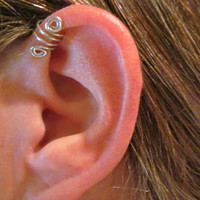 "Ear Cuff No Piercing ""Double Up"" Helix Cuff Handmade 1 Cuff - Silver Tone or 17 COLOR CHOICES"
