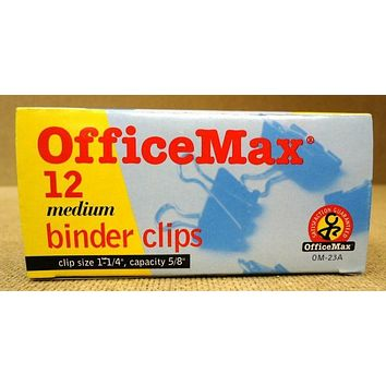 Office Max 0M-23A Medium Binder Clips Quantity 6 - 1 1/4in Capacity 5/8in -- New