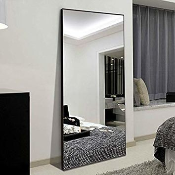 "H&A 65""x22"" Full Length Mirror Bedroom Floor Mirror Standing or Hanging (Black)"