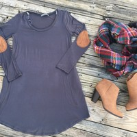 Gray Elbow Patch Dress