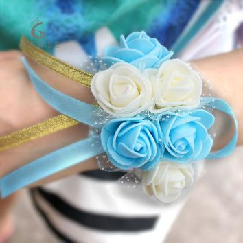 Cheap Wrist Corsage Bracelet Foam Rose Sisters Bridesmaid Hand Flowers Wedding Party Bridal Prom Decor Supplies Wrist flower