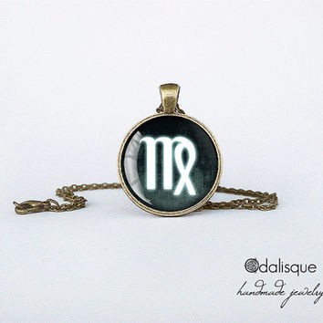Virgo sign pendant European Zodiac necklace the maiden earth sign gift jewelry bronze for him for her jewellery key ring