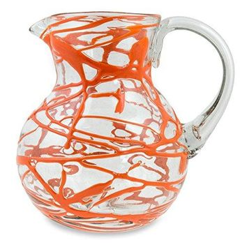 NOVICA Hand Blown Orange Glass Pitcher, 84 oz. 'Tangerine Swirl'