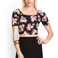 FOREVER 21 Floral Scuba Knit Crop Top Black/Pink Large