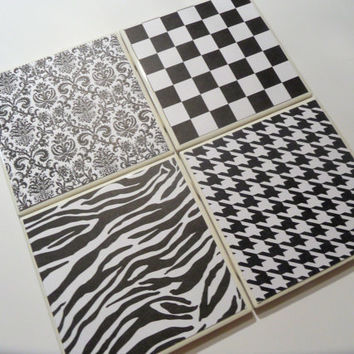 Black and White Patterns Ceramic Coasters set of by myevilfriend