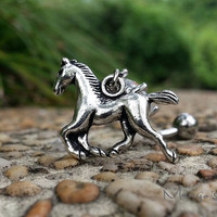 Running Horse Belly Button Ring Jewelry- Silver Running Horse Charm Dangle Navel Piercing Bar Barbell- B051