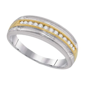 10kt Two-tone White Gold Mens Round Diamond Wedding Anniversary Band Ring 1/4 Cttw