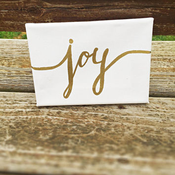 Joy Sign Christmas decor gold wall art small paintings christmas wall decor quotes on canvas rustic decor gold decor holiday quotes