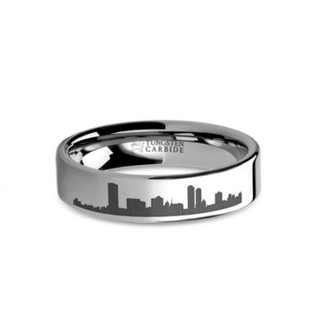 Milwaukee City Skyline Cityscape Laser Engraved Tungsten Ring