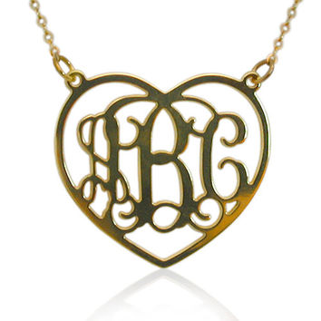 Heart Shape Monogram Necklace 1.25 Inch - 18k Yellow Gold Plated On Brass - Heart Frame