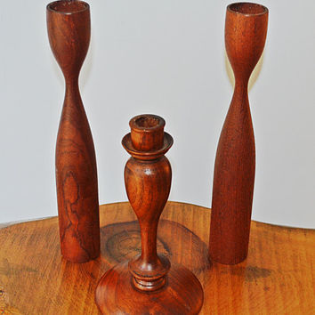 Wood Candlesticks, Vintage Wood Candle Holders