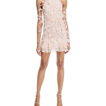 J. Mendel Glitter & Feathered Silk Dress