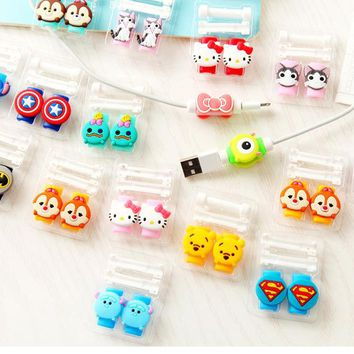 2Pcs Double Side Cartoon USB Cable Earphone Protector headphones line saver For phone charging line data cable protection
