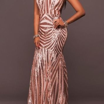 New Women Geometric Sequin Spaghetti Strap Backless Mermaid High Waisted Party Maxi Dress