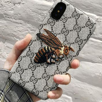 GUCCI Embroidery bees phone case shell  for iphone 6/6s,iphone 6p/6splus,iphone 7/8,iphone 7p/8plus, iphonex