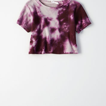 Don't Ask Why Ribbed Crop T-Shirt, Purple