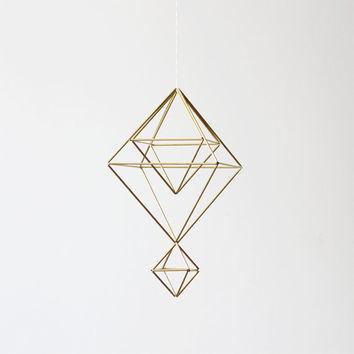 Brass Himmeli no. 7 / Modern Hanging Mobile / Geometric by HRUSKAA