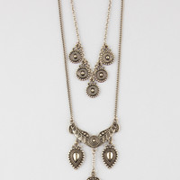 Full Tilt 2 Row 5 Coin/Antique Necklace Antique Gold One Size For Women 27370262301
