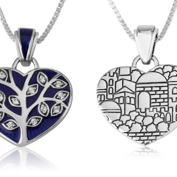 Tree of life with Blue enamel and Zircon stones pendant in 925 Sterling Silver