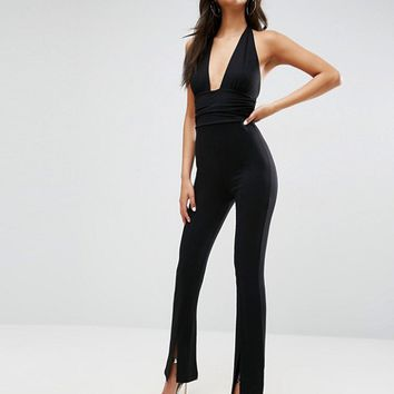 ASOS Jersey Jumpsuit with Halter Neck and Plunge Detail at asos.com