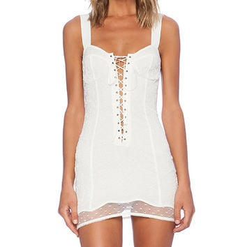 For Love & Lemons She's a Knockout Slip in White