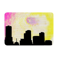 "Infinite Spray Art ""Skylined"" Pink Yellow Memory Foam Bath Mat"